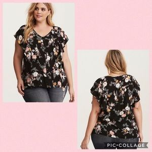 TORRID• textured flutter sleeve blouse